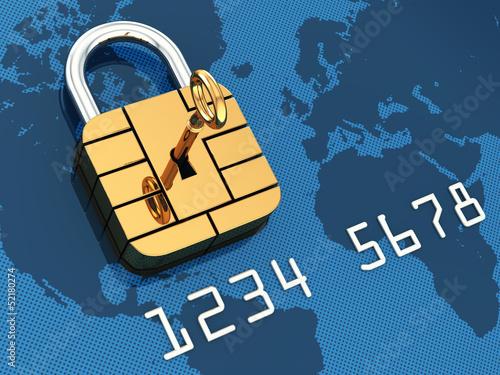 Fotografía  Credit card security chip as padlock,safe banking