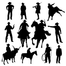 Set Of Cowboy Silhouettes