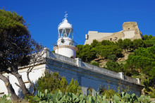 Lighthouse Built In 1864 Below Trinity Castle, Roses Town, Costa Brava, Mediterranean, Catalonia, Spain