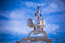Communication Antennas On A Luxury Yacht