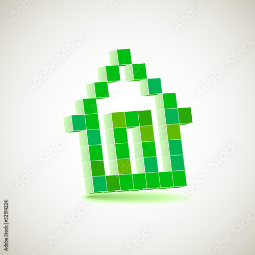Photo sur Toile Pixel Vector character of the house drawing in perspective