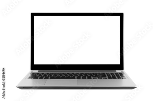 Fotografía  Laptop isolated on white with clipping path