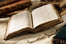 Antique Book With Old Spectacles