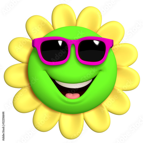 Foto auf Gartenposter Nette Monster 3d cartoon cute flower