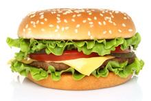 Big Hamburger On White Background .