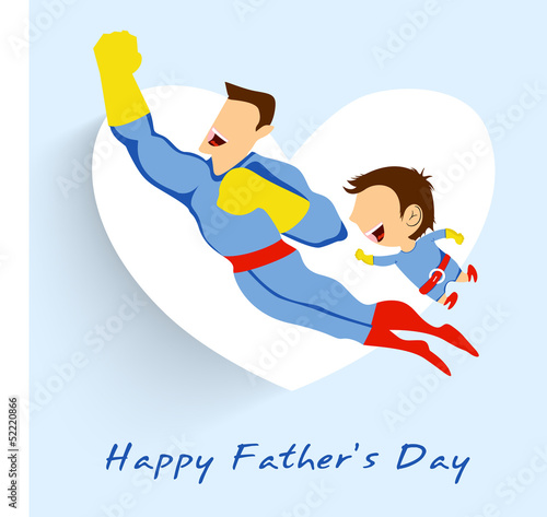 Foto op Canvas Superheroes Superhero father and son flying up on white heart shape blue bac
