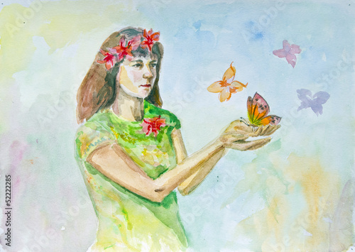 Poster Bloemen vrouw Watercolor drawing of a girl with butterflies