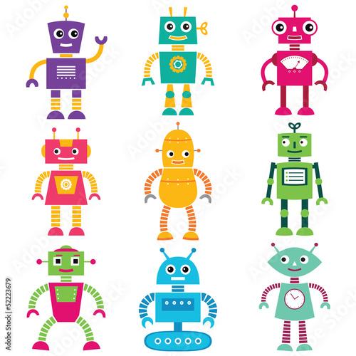 roznokolorowe-roboty-zestaw-droidow-na-bialym-tle