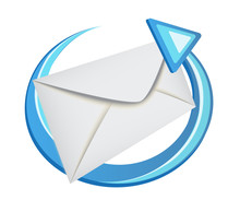 Envelope With A Blue Arrow