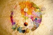 Watercolor Yin Yang Symbol, Ol...