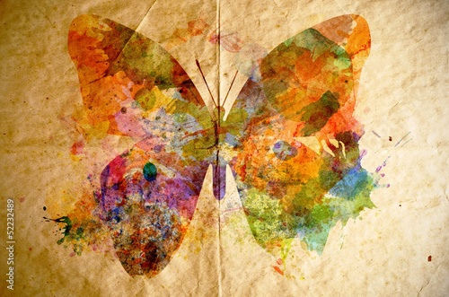 Fotobehang Vlinders in Grunge Watercolor butterfly, old paper background