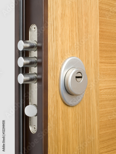 Fotografie, Tablou  Wooden doors with lock