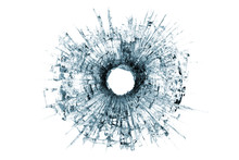 Bullet Hole In Glass Isolated On White