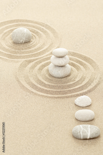 Tuinposter Stenen in het Zand Balance zen stones in sand
