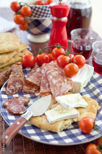 Spoed Foto op Canvas Buffet, Bar Cheese, salami and flat bread
