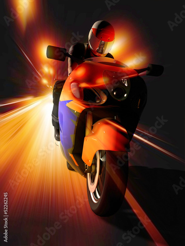 Poster Motocyclette Motorcyclist