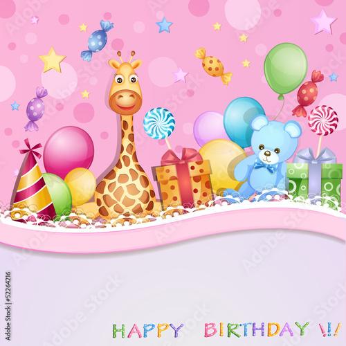 kartka-urodzinowa-z-balonami-prezentami-i-cukierkami