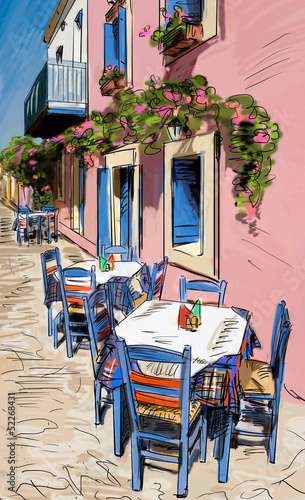 Staande foto Drawn Street cafe European city street color illustration