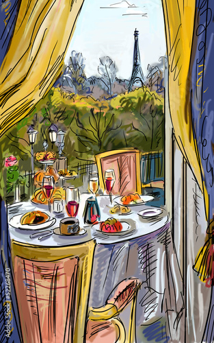 Keuken foto achterwand Illustratie Parijs Street in paris - illustration
