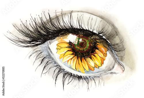 Foto auf Leinwand Gemälde sunflower eye