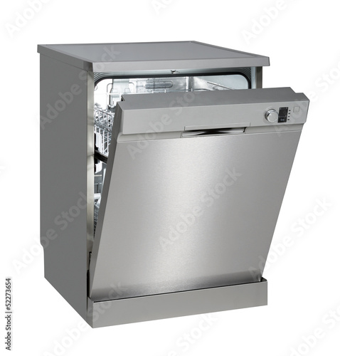 Fotografie, Obraz  Freestanding dishwasher on white with clipping path.