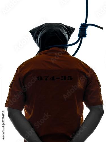 Fotografie, Obraz  criminal man with hangman noose around the neck silhouette