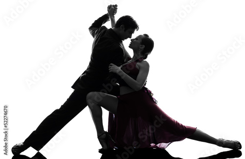 Photo  couple man woman ballroom dancers tangoing  silhouette