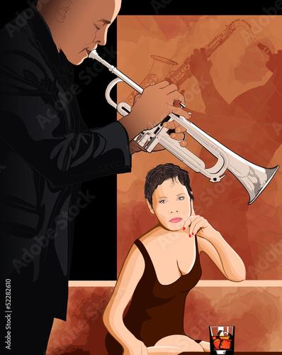 In de dag Muziekband woman taking a glass in a jazz club