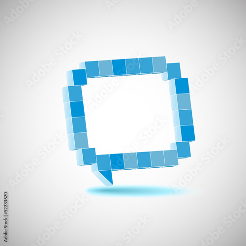 Photo sur Toile Pixel Vector character, the speech bubbles, drawing in perspective