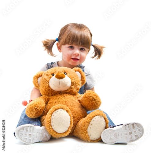 Fotografie, Obraz  bambina sorridente con orsacchiotto