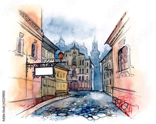 Foto auf AluDibond Gezeichnet Straßenkaffee street banner