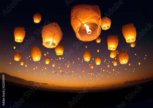 Slika na platnu Flying Chinese Lanterns