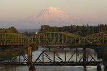 Railroad And Car Bridges Puyallup River Mt. Rainier Washington