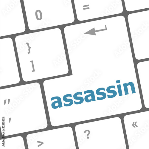 Photo  assassin word on computer pc keyboard key