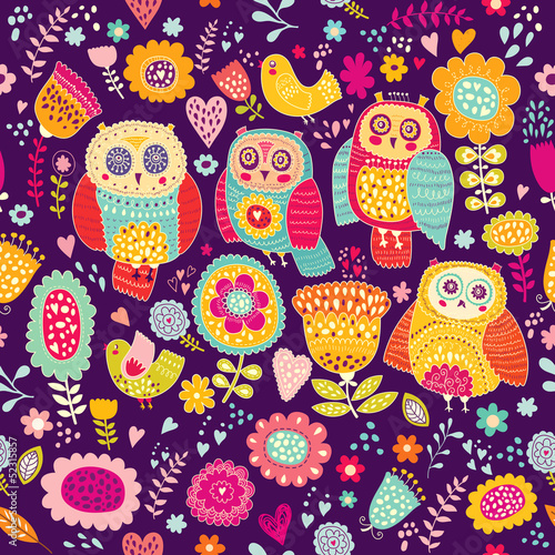 Poster Hibou Seamless vector pattern with cheerful cute owls