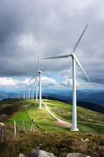 Windmill Farm In Mountain With Beautiful Light