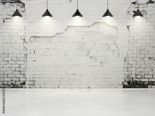 Obraz grungy wall with lamps - fototapety do salonu