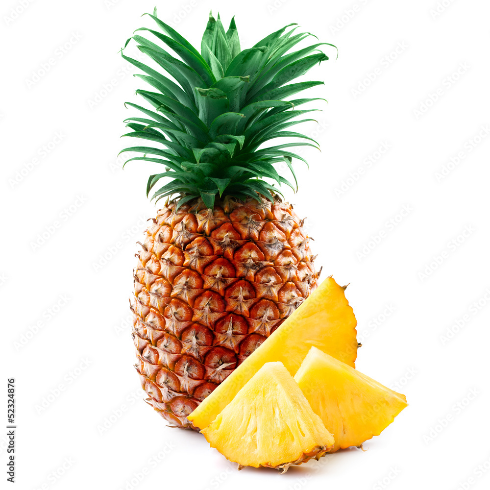 Fototapeta pineapple with slices isolated on white.