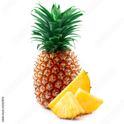 pineapple with slices isolated on white.