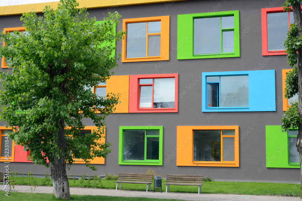 Fototapeta colorful facade of the school of arts