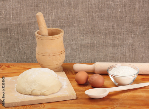 Fotografie, Obraz  Bread cooking. Ingredients and dough