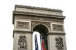 Isolated on white Triumphal arch in Paris, France