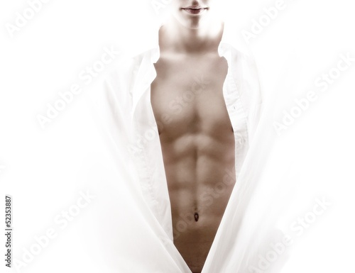 Photo  front of a partly nude male body