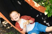 Laughing Little Boy In A Hammock