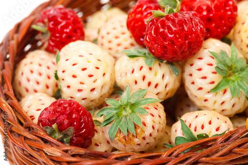 Fotografie, Obraz  Ripe White and Red Strawberries in basket