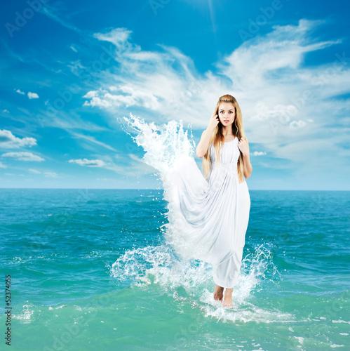 Fotografie, Obraz  Ancient Greek Goddess in Sea Waves
