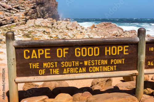 In de dag Zuid Afrika Hinweistafel am Kap der guten Hoffnung