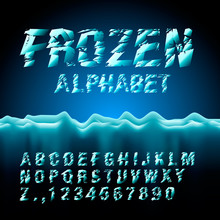 Ice Font Collection, Vector Eps10 Illustration.