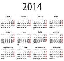 Spanish Calendar For 2014. Mondays First