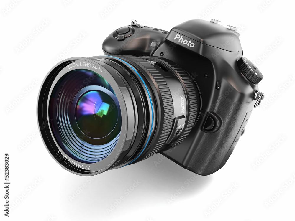 Fototapety, obrazy: Digital photo camera on white isolated background.
